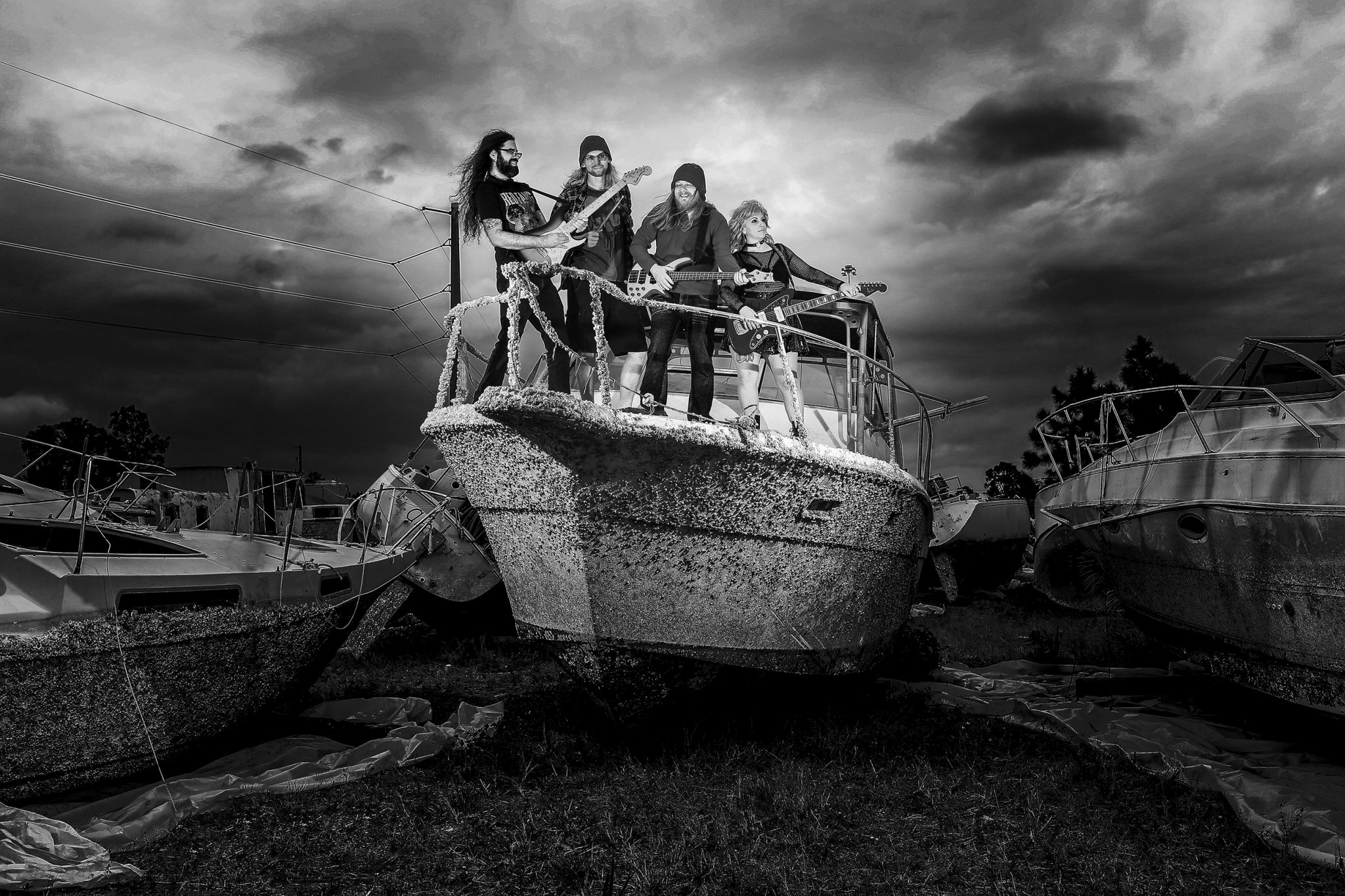 band on a boat during a storm the young dead jesi Cason photography