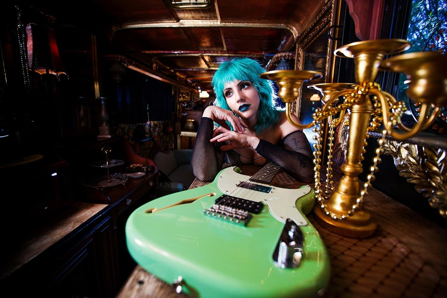angela page love your rebellion seafoam green stratocaster