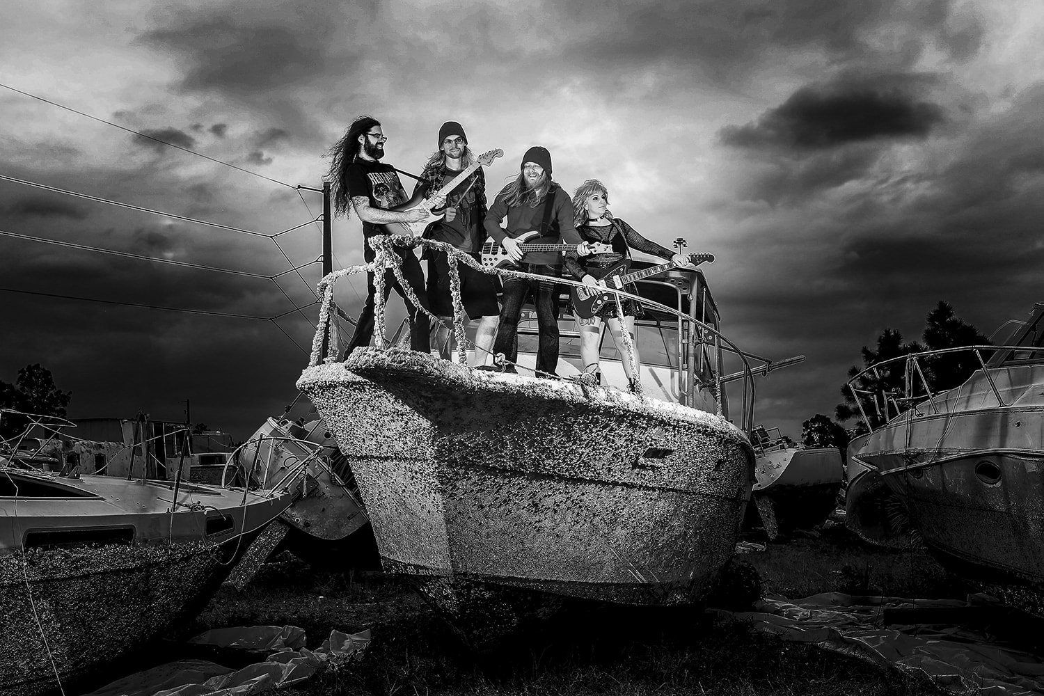 the young dead boat fort myers florida punk band black and white storm clouds