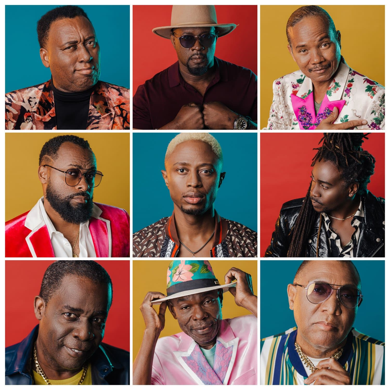 9 square grid of the Baha Men at Ampersand Studios each on color background