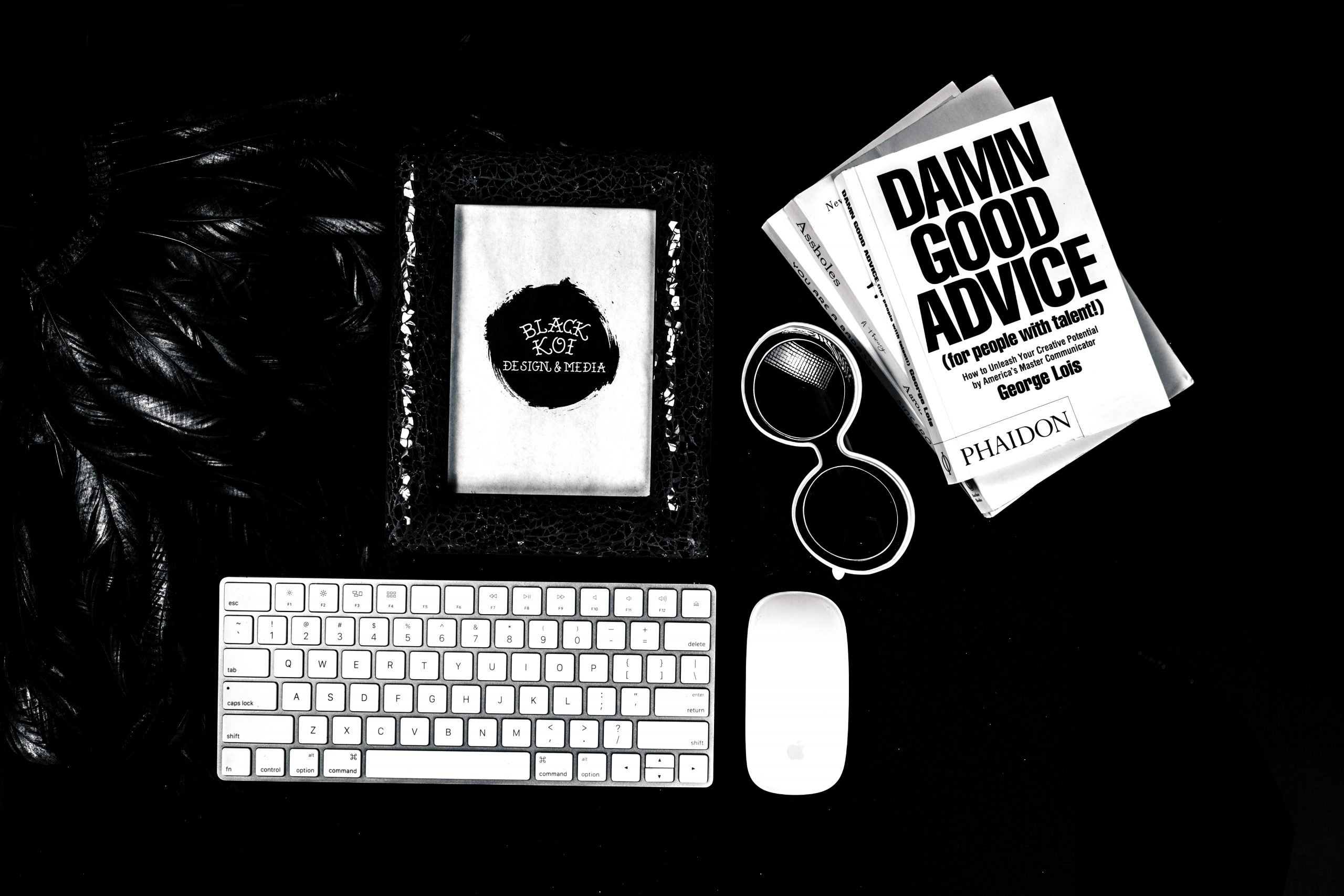 branding items in black and white questions for hiring a branding photographer