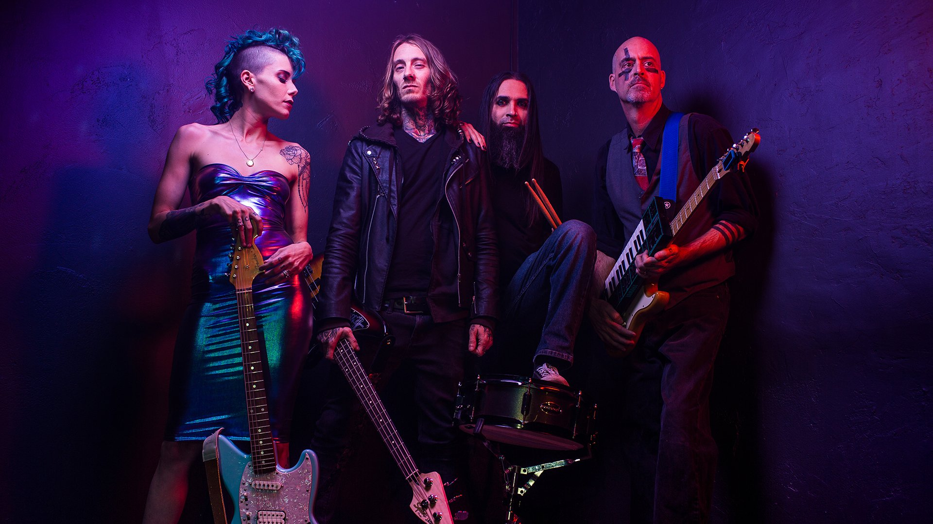 synth punk band cobress posing with instruments