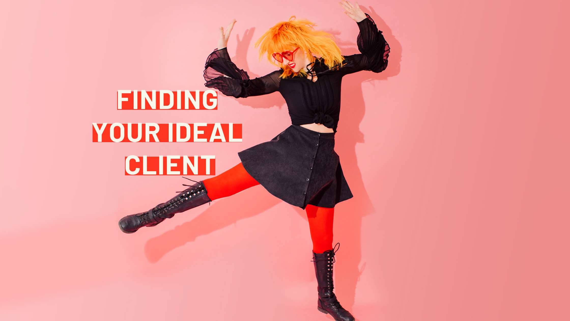 orange haired woman jumping with text finding your ideal client
