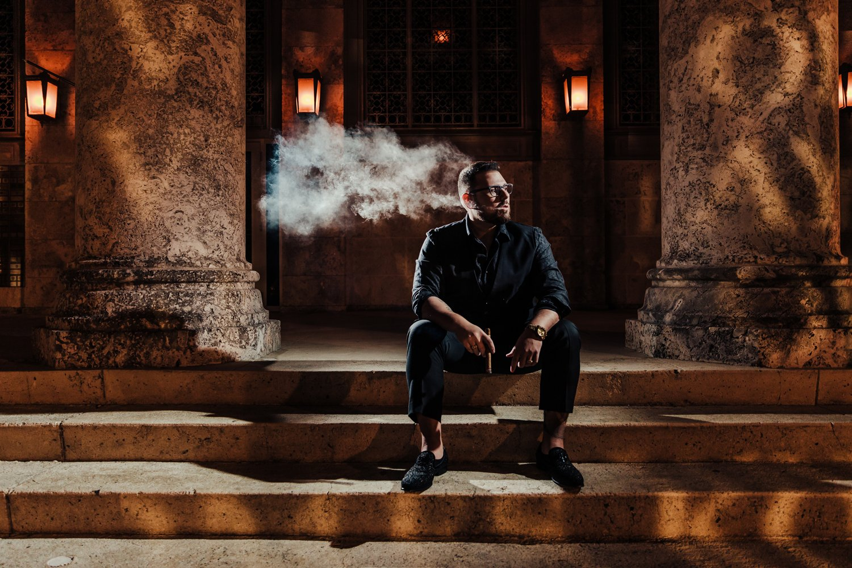 fort myers downtown branding headshot lawyers smoking cigar